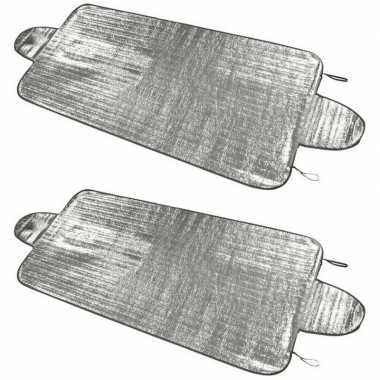 2x auto zonneschermen/anti-ijs dekens 70 x 150 cm