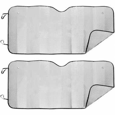 2x auto zonneschermen/anti vorst dekens tweezijdig 74 x 143 cm